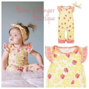 2pc. Roses & Leaves Baby Girl Romper with headband